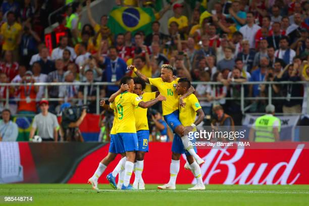 Paulinho of Brazil celebrates scoring a goal to make it 0-1with his team-mates during the 2018 FIFA World Cup Russia group E match between Serbia and...