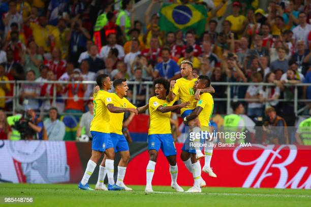 Paulinho of Brazil celebrates scoring a goal to make it 01with his teammates during the 2018 FIFA World Cup Russia group E match between Serbia and...