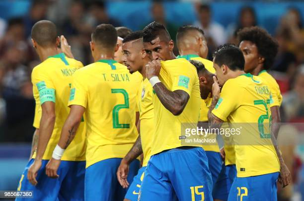 Paulinho of Brazil celebrates with his team mates after scoring the open g goal during the 2018 FIFA World Cup Russia group E match between Serbia...