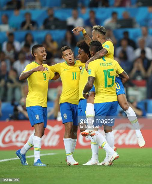 Paulinho of Brazil celebrates with team mates after he scores the opening goal during the 2018 FIFA World Cup Russia group E match between Serbia and...