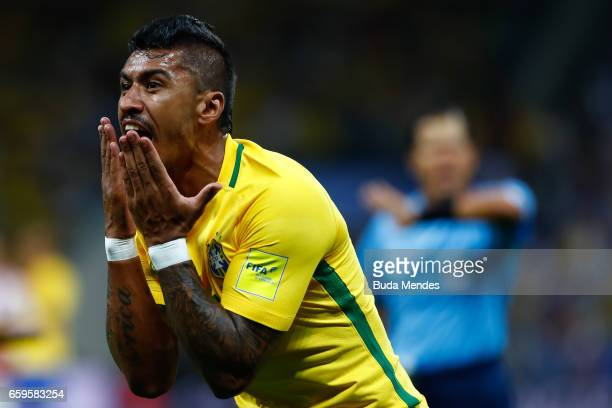 Paulinho of Brazil gestures during a match between Brazil and Paraguay as part of 2018 FIFA World Cup Russia Qualifier at Arena Corinthians on March...