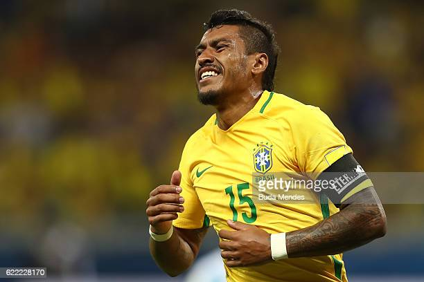 Paulinho of Brazil laments lost a goal during a match between Brazil and Argentina as part of 2018 FIFA World Cup Russia Qualifier at Mineirao...