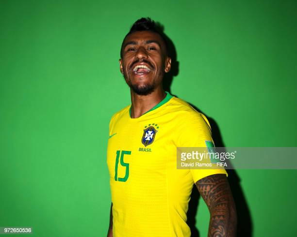 Paulinho of Brazil poses during the official FIFA World Cup 2018 portrait session at the Brazil Team Camp on June 12 2018 in Sochi Russia