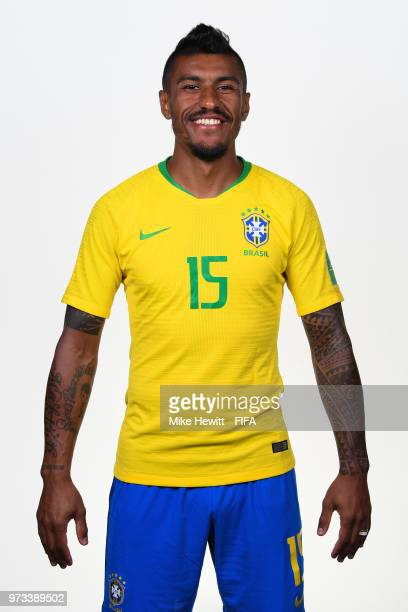 Paulinho of Brazil poses for a portrait during the official FIFA World Cup 2018 portrait session at the Brazil Team Camp on June 12 2018 in Sochi...