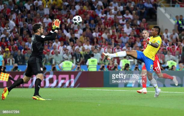 Paulinho of Brazil scores his team's first goal during the 2018 FIFA World Cup Russia group E match between Serbia and Brazil at Spartak Stadium on...