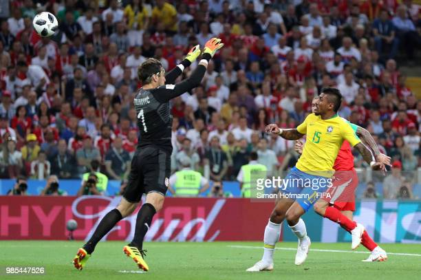 Paulinho of Brazil scores past Vladimir Stojkovic of Serbia his team's first goal during the 2018 FIFA World Cup Russia group E match between Serbia...