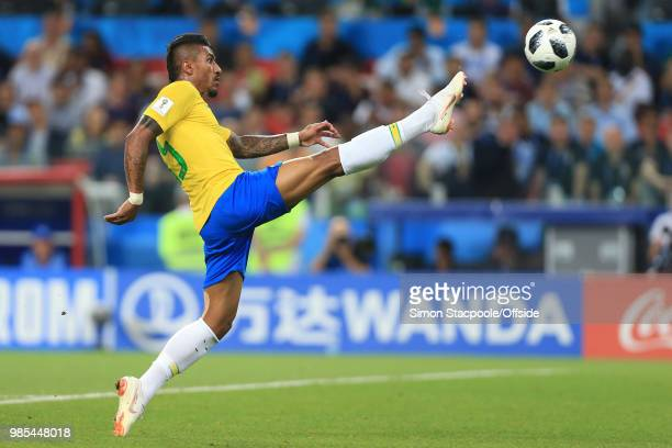 Paulinho of Brazil scores the opening goal during the 2018 FIFA World Cup Russia Group E match between Serbia and Brazil at Spartak Stadium on June...
