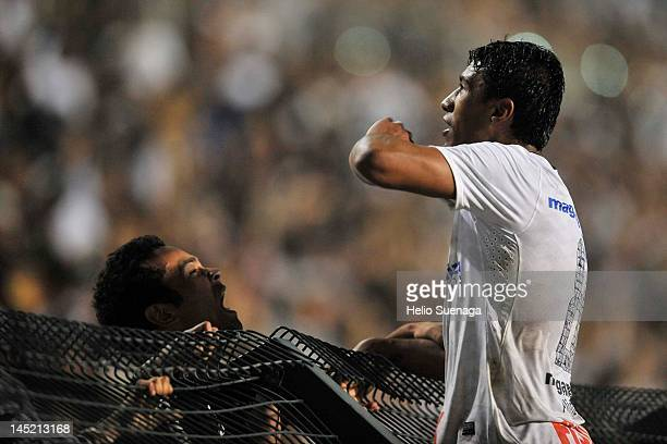 Paulinho, of Corinthians celebrates after scoring against Vasco da Gama during a match between Corinthians and Vasco da Gama as part of the...