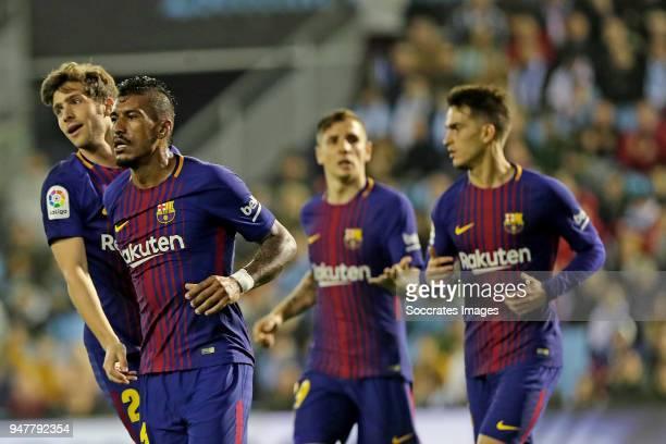 Paulinho of FC Barcelona celebrates 12 during the La Liga Santander match between Celta de Vigo v FC Barcelona at the Estadio de Balaidos on April 17...