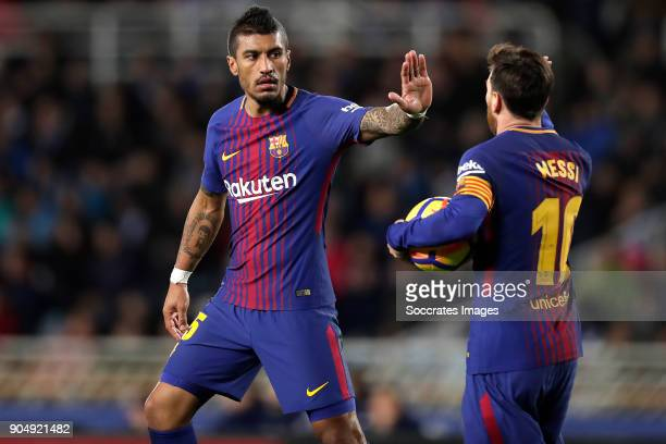 Paulinho of FC Barcelona celebrates 21 with Lionel Messi of FC Barcelona during the La Liga Santander match between Real Sociedad v FC Barcelona at...