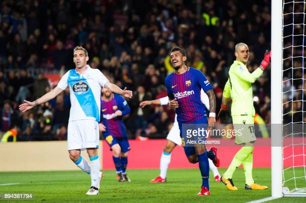 Paulinho of FC Barcelona celebrates after scoring his sides second goal during the La Liga match between FC Barcelona and Deportivo La Coruna at Camp...