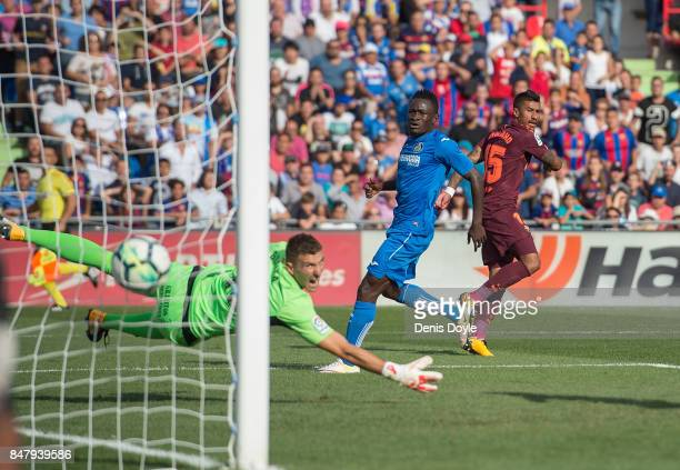 Paulinho of FC Barcelona celebrates after scoring his team's 2nd goal during the La Liga match between Getafe and Barcelona at Coliseum Alfonso Perez...