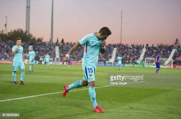Paulinho of FC Barcelona celebrates after scoring his teamÕs 3rd goal during the La Liga match between Leganes and Barcelona at Estadio Municipal de...