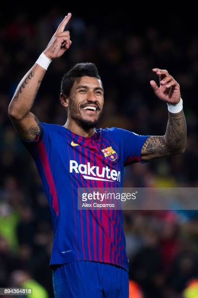Paulinho of FC Barcelona celebrates after scoring his team's fourth goal during the La Liga match between FC Barcelona and Deportivo La Coruna at...