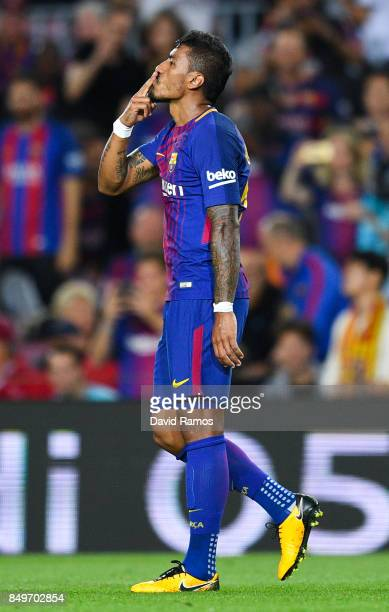 Paulinho of FC Barcelona celebrates after scoring his team's second goal during the La Liga match between Barcelona and SD Eibar at Camp Nou on...
