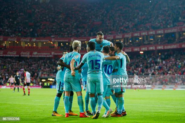 Paulinho of FC Barcelona celebrates after scoring his team's second goal during the La Liga match between Athletic Club Bilbao and FC Barcelona at...