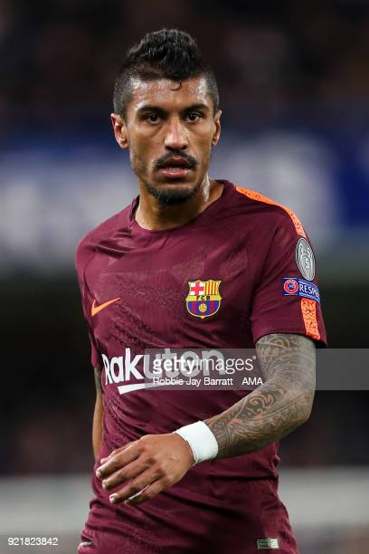 Paulinho of FC Barcelona during the UEFA Champions League Round of 16 First Leg match between Chelsea FC and FC Barcelona at Stamford Bridge on...
