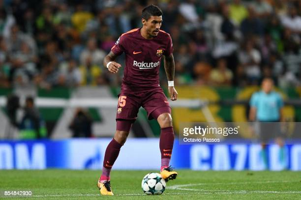 Paulinho of FC Barcelona in action during the UEFA Champions League group D match between Sporting CP and FC Barcelona at Estadio Jose Alvalade on...