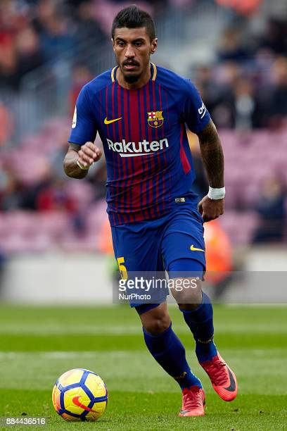 Paulinho of FC Barcelona runs with the ball during the La Liga match between FC Barcelona and Real Celta de Vigo at Camp Nou on December 2 2017 in...