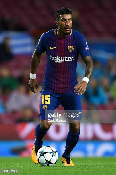 Paulinho of FC Barcelona runs with the ball during the UEFA Champions League group D match between FC Barcelona and Olympiakos Piraeus at Camp Nou on...