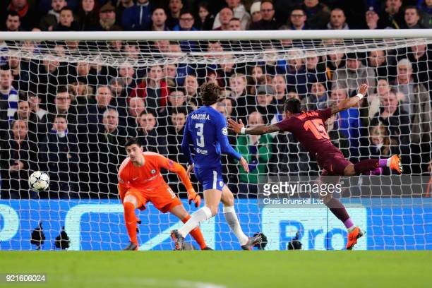 Paulinho of FC Barcelona takes a shot towards the goal of Thibaut Courtois of Chelsea during the UEFA Champions League Round of 16 First Leg match...