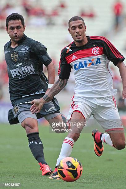 Paulinho of Flamengo and Wanderson of Portuguesa in action during the match between Flamengo and Portuguese for the Brazilian Championship Serie A in...