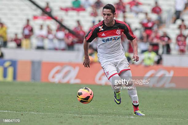 Paulinho of Flamengo in action during the match between Flamengo and Portuguese for the Brazilian Championship Serie A in 2013 Castelao Arena stadium...