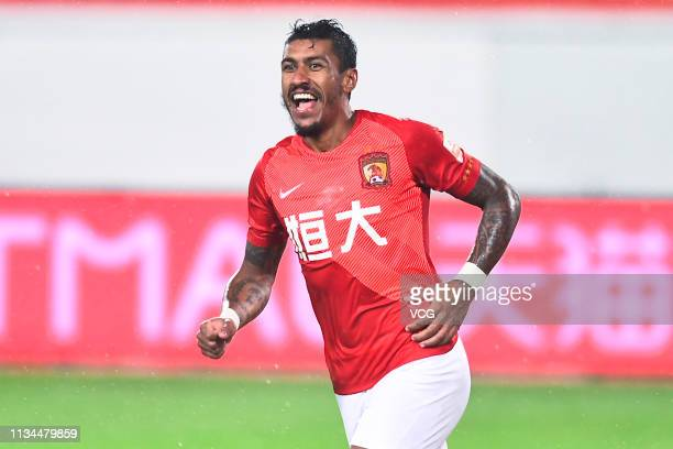 Paulinho of Guangzhou Evergrande celebrates after scoring his team's first goal during the second round match of 2019 Chinese Football Association...