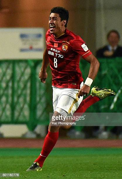 Paulinho of Guangzhou Evergrande FC celebrates the winner during the FIFA Club World Cup quarter final between the Club America and Guangzhou...