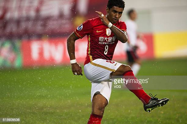 Paulinho of Guangzhou Evergrande in action during the AFC Champions League Group H match between Guangzhou Evergrande and Urawa Red Diamonds at...