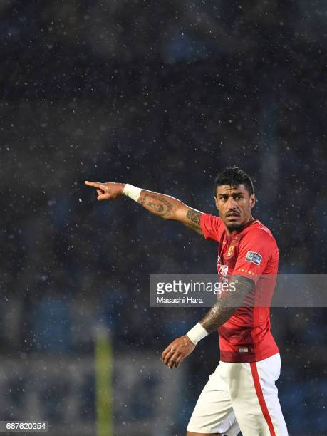 Paulinho of Guangzhou Evergrande looks on during the AFC Champions League Group G match between Kawasaki Frontale and Guangzhou Evergrande at...