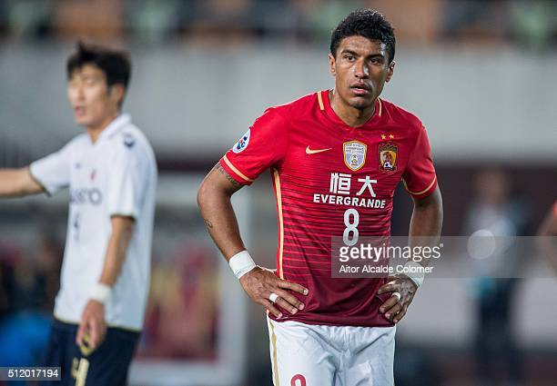 Paulinho of Guangzhou Evergrande reacts during the Guangzhou Evergrande FC v Pohang Steelers match as part of the AFC Champions League 2016 at...