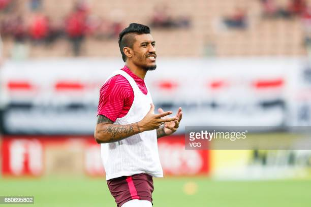 Paulinho of Guangzhou Evergrande warms up prior to 2017 AFC Champions League group match G between Guangzhou Evergrande and Suwon Samsung Bluewings...