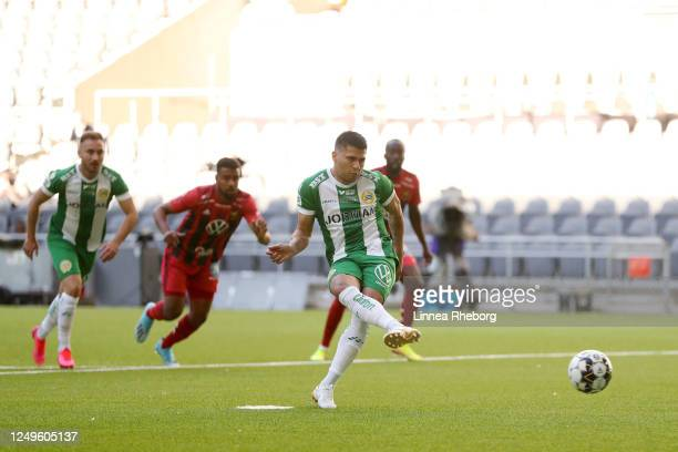 Paulinho of Hammarby misses a penalty during the Allsvenskan match between Hammarby IF and Ostersunds FK at Tele2 Arena on June 14 2020 in Stockholm...
