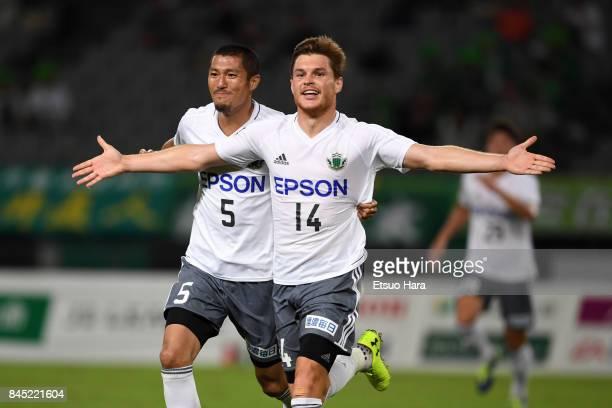 Paulinho of Matsumoto Yamaga celebrates scoring his side's first goal during the J.League J2 match between Tokyo Verdy and Matsumoto Yamaga at...