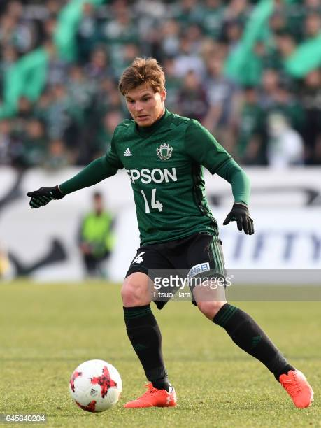 Paulinho of Matsumoto Yamaga in action during the JLeague J2 match between Yokohama FC and Matsumoto Yamaga at Nippatsu Mitsuzawa Stadium on February...