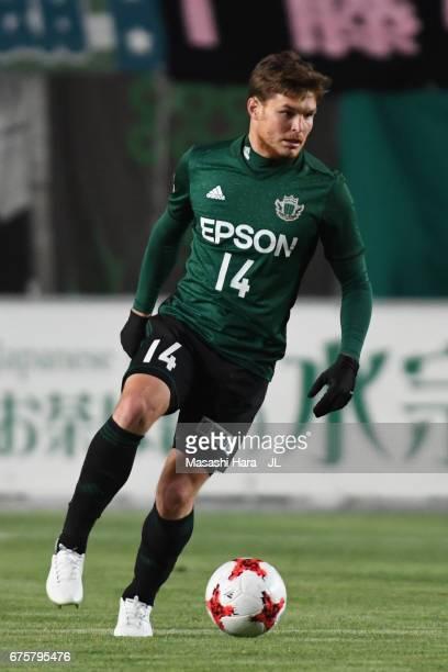 Paulinho of Matsumoto Yamaga in action during the JLeague J2 match between Matsumoto Yamaga and Kamatamare Sanuki at Matsumotodaira Park Stadium on...