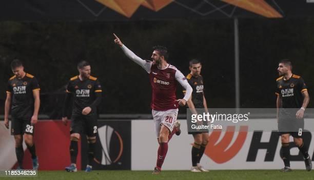 Paulinho of SC Braga celebrates after scoring a goal during the Group K UEFA Europa League match between SC Braga and Wolverhampton Wanderers at...