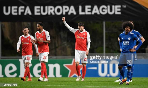 Paulinho of SC Braga celebrates after scoring their sides second goal during the UEFA Europa League Group G stage match between SC Braga and...