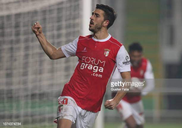 Paulinho of SC Braga celebrates after teammate Pablo Santos of SC Braga scores a goal during the Portuguese Cup match between Vitoria FC and SC Braga...