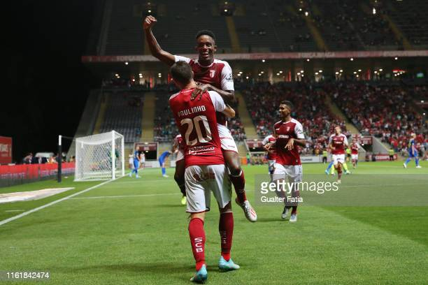 Paulinho of SC Braga celebrates with teammates after scoring a goal during the UEFA Europa League Third Qualifying Round match between SC Braga and...