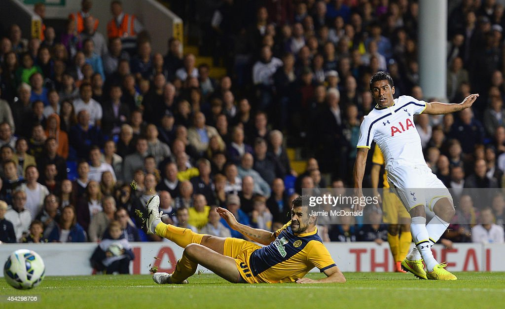 Paulinho of Spurs scores their second goal during the UEFA Europa League Qualifying Play-Offs Round Second Leg match between Tottenham Hotspur and AEL Limassol FC on August 28, 2014 in London, United Kingdom.
