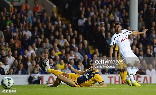Paulinho of Spurs scores their second goal during the UEFA Europa League Qualifying PlayOffs Round Second Leg match between Tottenham Hotspur and AEL...