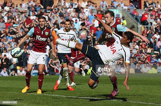 Paulinho of Spurs shoots during the Barclays Premier League match between Burnley and Tottenham Hotspur at Turf Moor on April 5 2015 in Burnley...