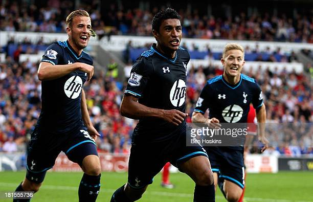 Paulinho of Tottenham celebrates after scoring the winning goal during the Barclays Premier League match between Cardiff City and Tottenham Hotspur...