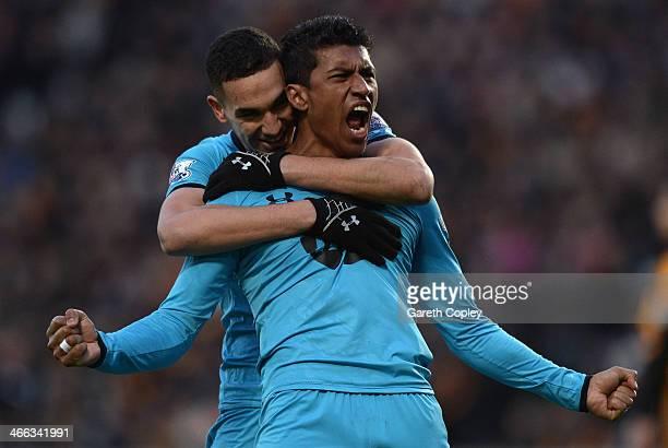 Paulinho of Tottenham Hotspur celebrates scoring a goal during the Barclays Premier League match between Hull City and Tottenham Hotspur at KC...