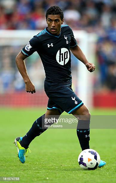 Paulinho of Tottenham in action during the Barclays Premier League match between Cardiff City and Tottenham Hotspur at Cardiff City Stadium on...