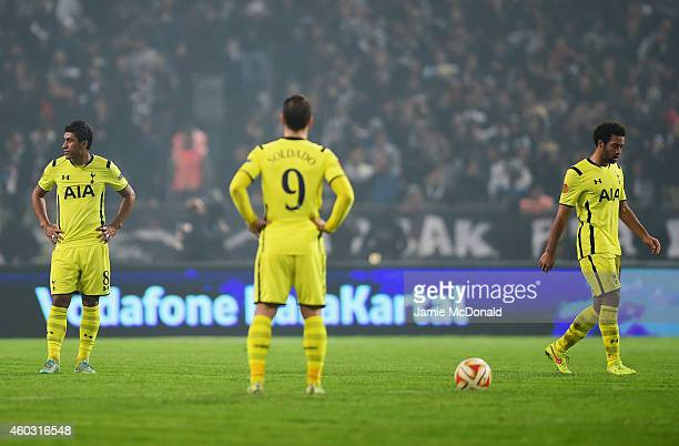 Paulinho Roberto Soldado and Mousa Dembele of Spurs look dejected as Cenk Tosun of Besiktas scores their first goal during the UEFA Europa League...