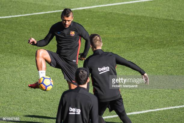 Paulinho seen training during an open public session held at the Barcelona Ministadium on January 5 2018 in Barcelona Spain