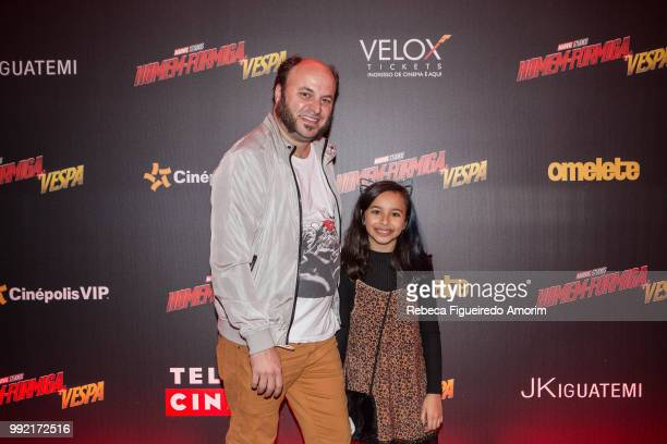 Paulinho Serra and Flor attend the Sao Paulo Premiere of The AntMan and The Wasp at Cinépolis Shopping JK Iguatemi on July 4 2018 in São Paulo Brazil
